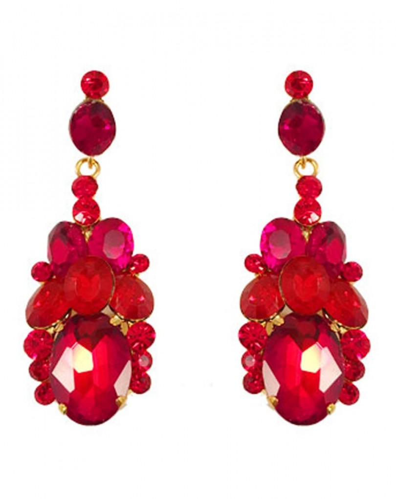 5d27e4b3268a Pendiente Bisuteria Color Rojo en Cristal