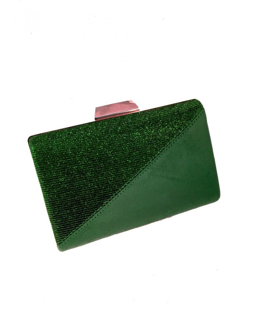47549b1e14d Clutch en Verde Antelina y Brillo
