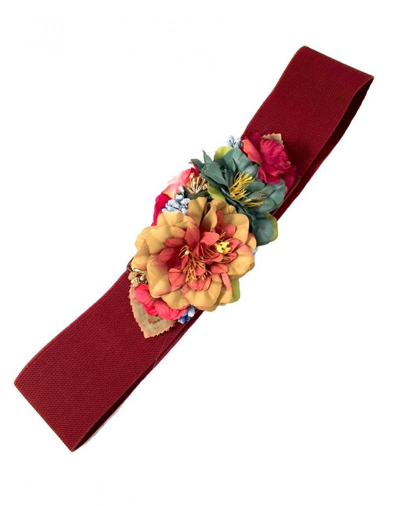 d155e3656 Cinturones Originales en Granate con Flores | Cinturones y Complementos