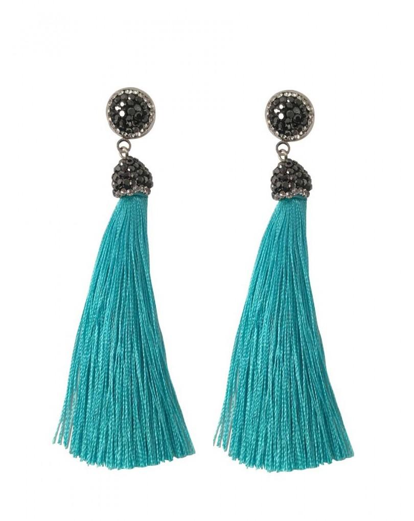 Pendientes moda pompon azul turquesa pendientes y bisuteria - El jardin del deseo pendientes ...