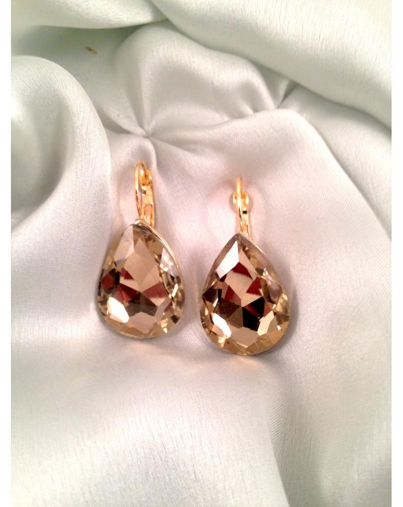 e41748b678b6 Pendientes de Fiesta Finos Lagrima Color Cristal Dorado