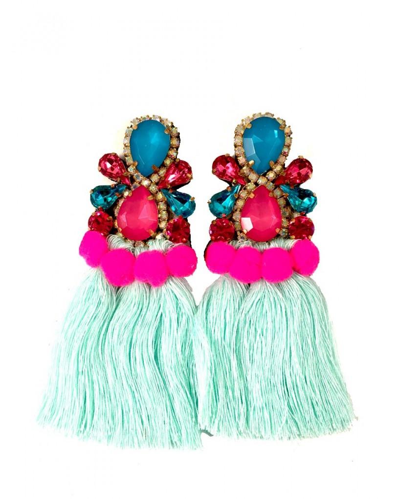 Pendientes de moda con flecos pompones en colores de moda pendientes - El jardin del deseo pendientes ...