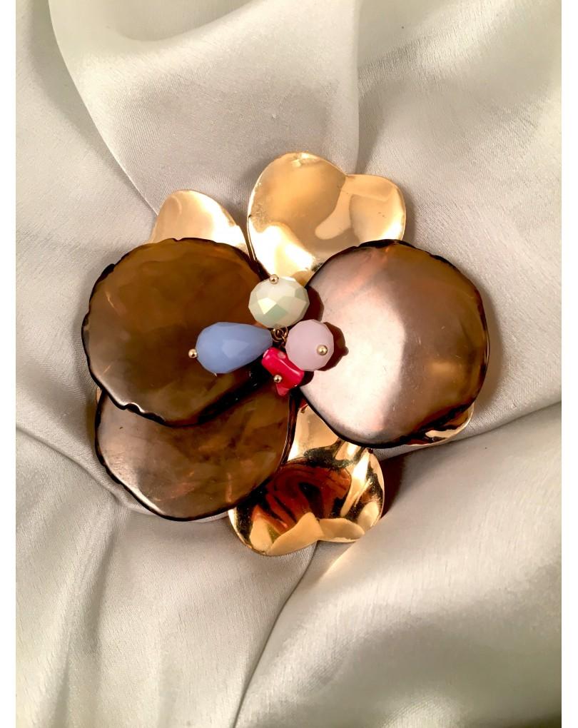 obtener online variedad de diseños y colores diseño superior Broche Semilla de Tagua Metal y Piedras Naturales, Diamtro 8cm | Broches