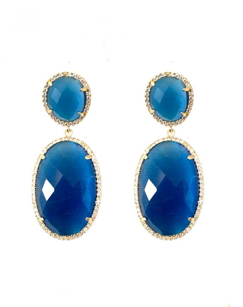 671ef4702 Pendientes Largos en Piedra, Bisuteria Fina y Alta Bisuteria Color Azul
