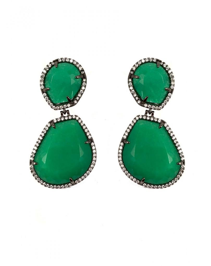 2bb115c17cd5 Largos Pendientes en Piedra de Bisuteria Fina y Alta Bisuteria Color Verde  Esmeralda