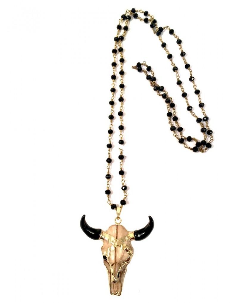 4b5388695e71 Collares Largos Estilo Etnicos con Cabeza Bufalo en Resina y Negro con  Cadena de Eslabones y Negro
