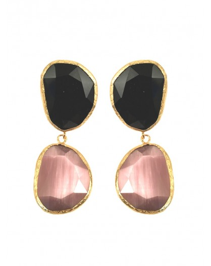 PEDIENTES ORIGINALES DE DOBLE PIEDRA NATURAL COLOR NEGRO CON ROSA