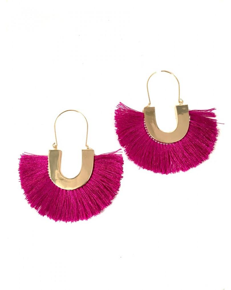 Preciosos pendientes de flecos en un bonito color fucsia for El jardin del deseo pendientes