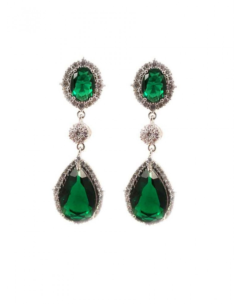 83fa017893e6 Pendientes Largos de Bisuteria Fina en Forma de Lagrima Color Verde  Esmeralda