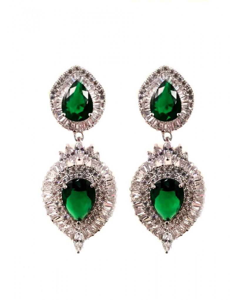 Bisuteria fina pendientes largos de circonitas tipo joyas circones esmeralda - El jardin del deseo pendientes ...