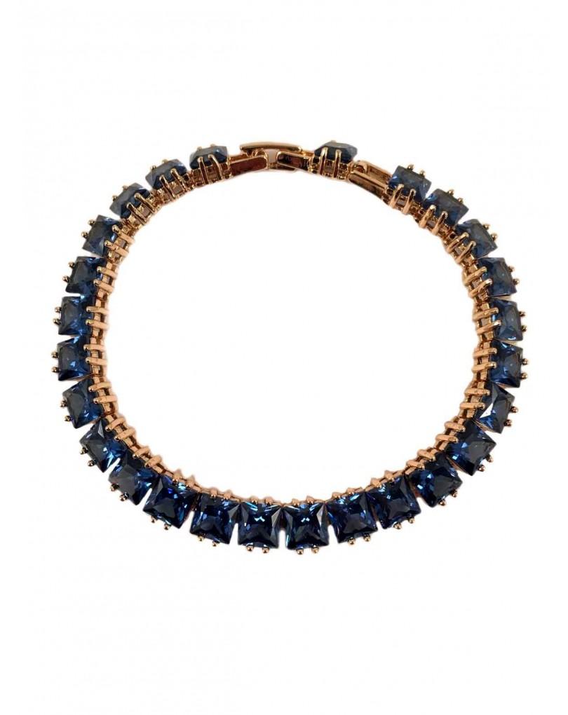 aa712b6842f3 Comprar Bisuteria Fina - Pulseras de Circonitas Azul Zafiro Talladas en  Forma Princesa