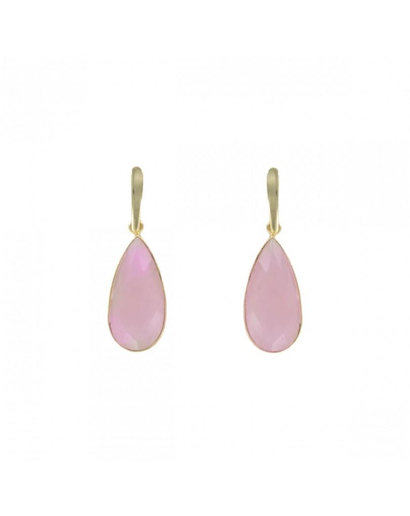 c308903276f8 Pendientes Chapados Oro con Piedra Semipreciosa Cuarzo Rosa ...