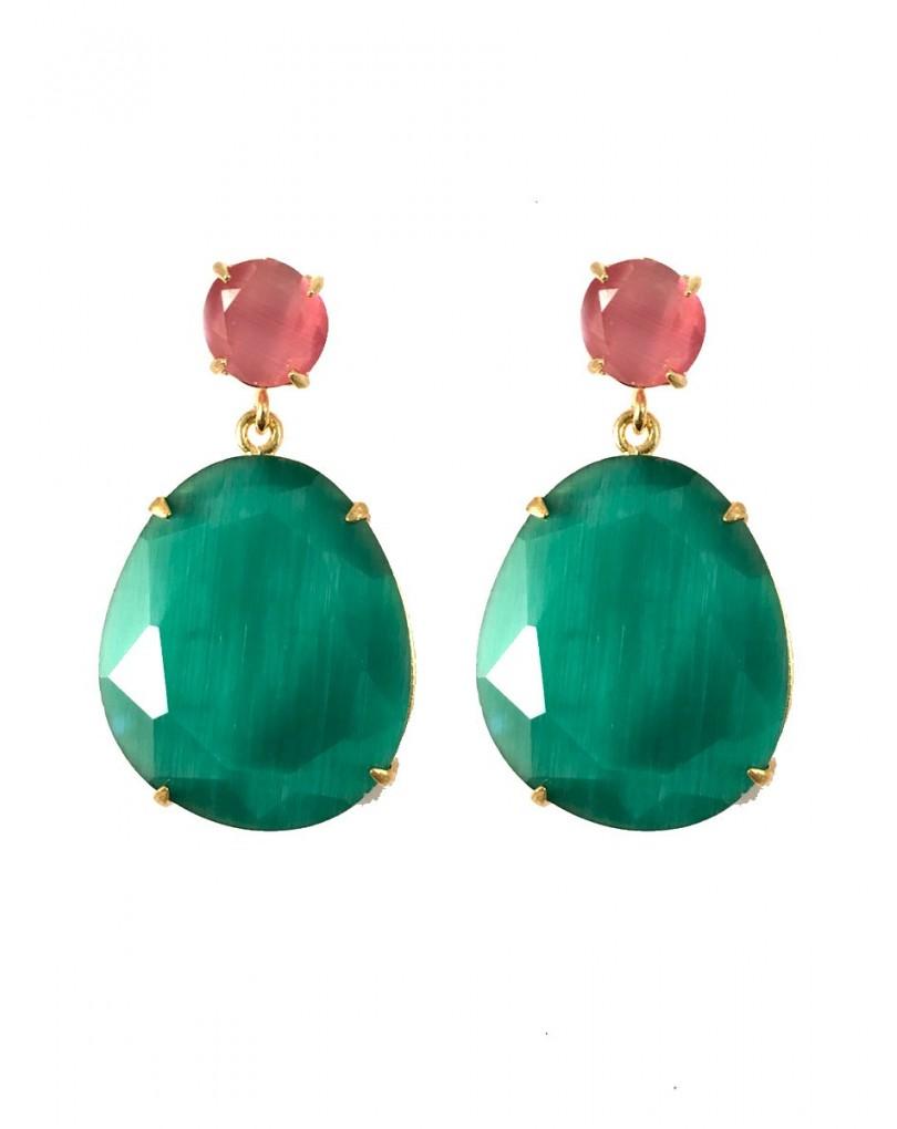 Pendientes de piedra color verde esmeralda pendientes y bisuteria - El jardin del deseo pendientes ...