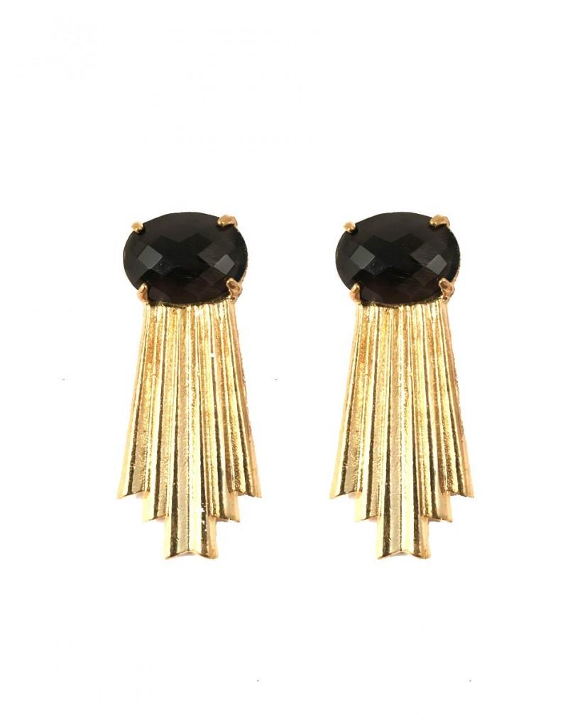 a2e529a91760 Pendientes Dorados Originales con Piedra de Color Negro