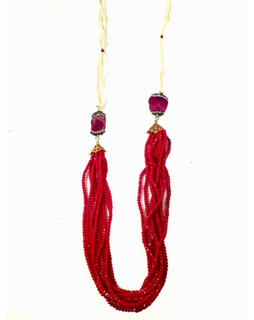 551f6d8bd671 Collares Largos Originales de Perla Piedra y Cristal Color Rojo ...