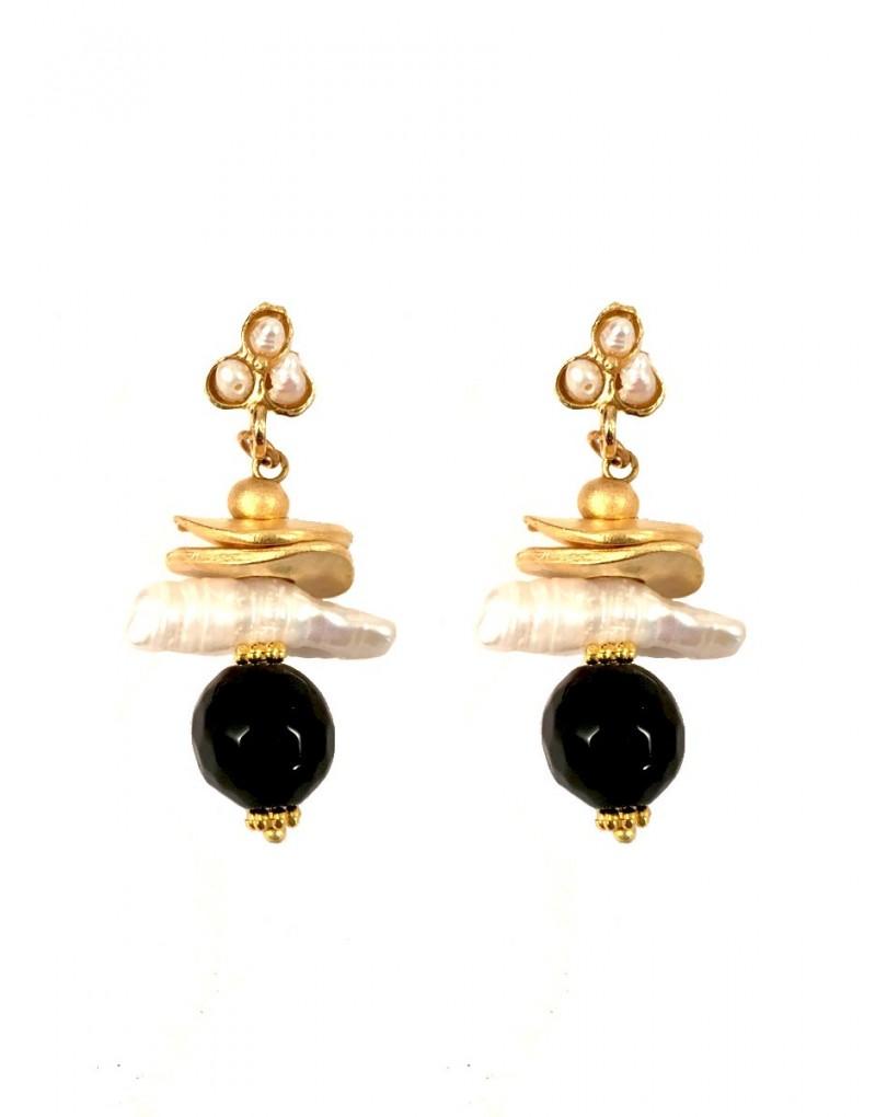a2495bb59cf9 Pendientes de Bisuteria y Piedras en Dorados con Negro