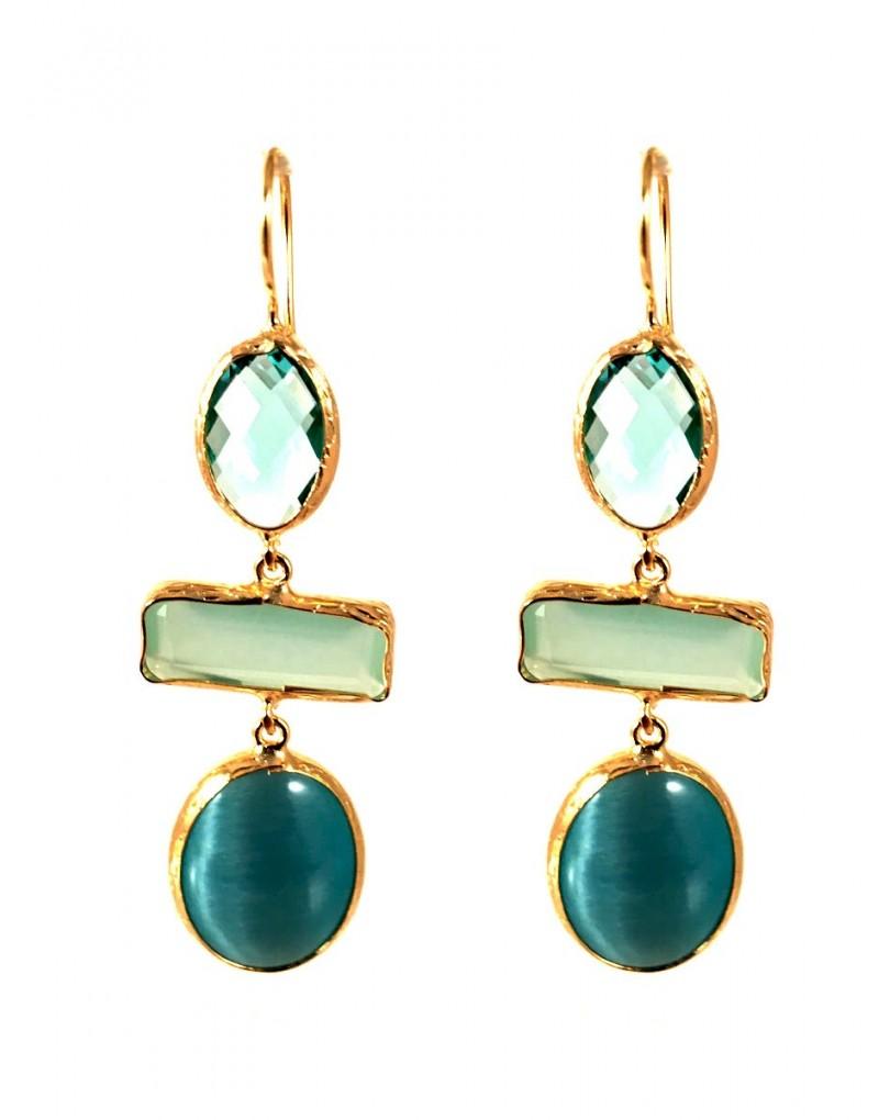 2cdb7ad3cbc4 Pendientes Bisuteria Dorados con Piedras Azules