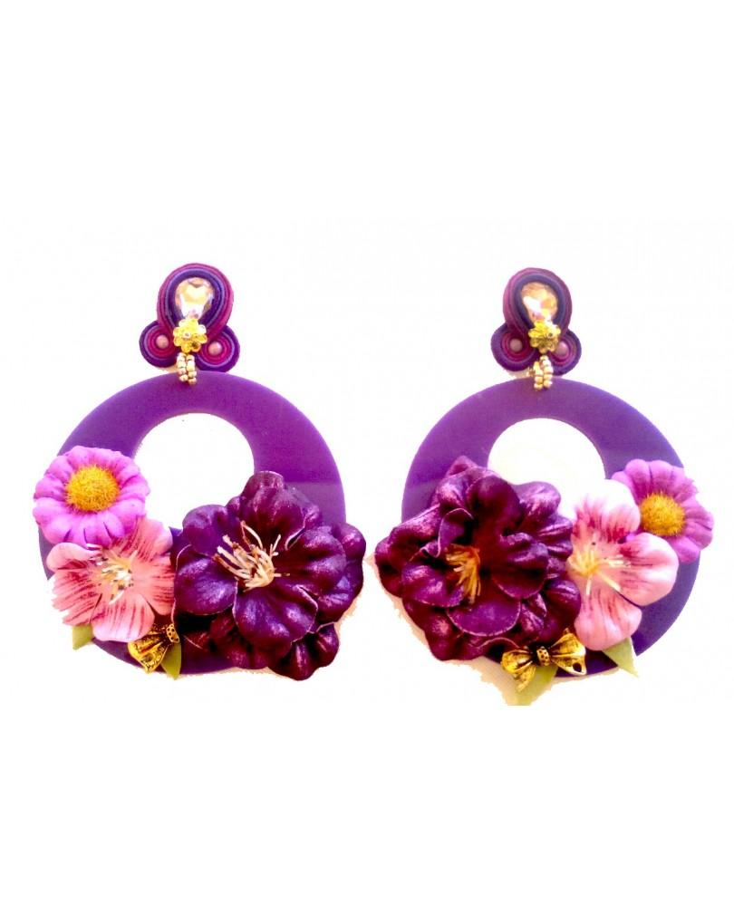 Pendientes originales para flamenca morados con flores pendientes flamenca - El jardin del deseo pendientes ...