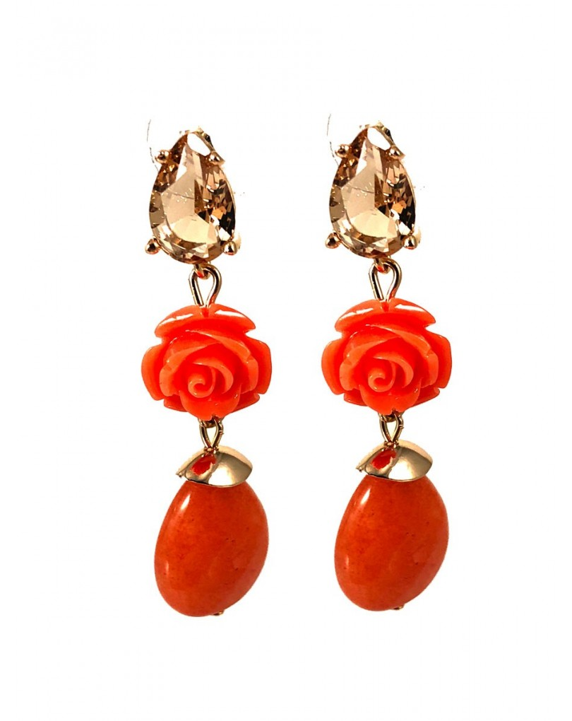 ac0afa800a8e Pendientes Largos Femeninos en Color Naranja