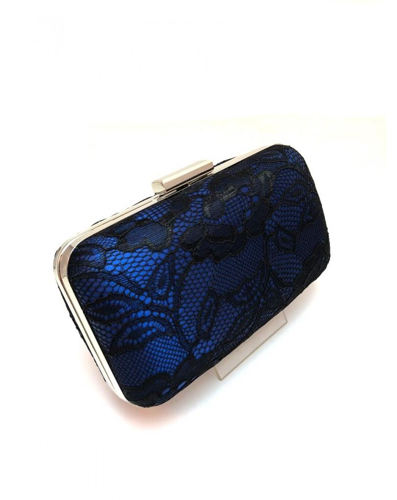 e6185468d Originales Bolsos de Fiesta en Azulon con Encaje Negro   Bolsos Fiesta