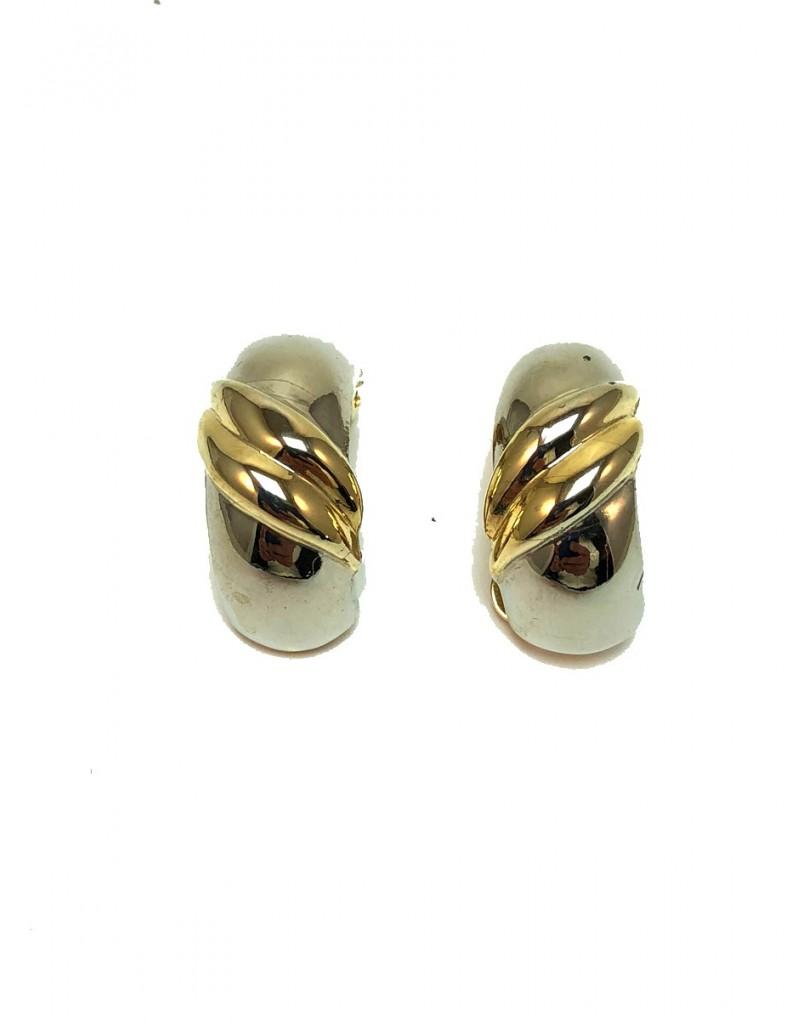 6cd0effde52a Elegantes Pendientes Chapados en Oro en Bicolor