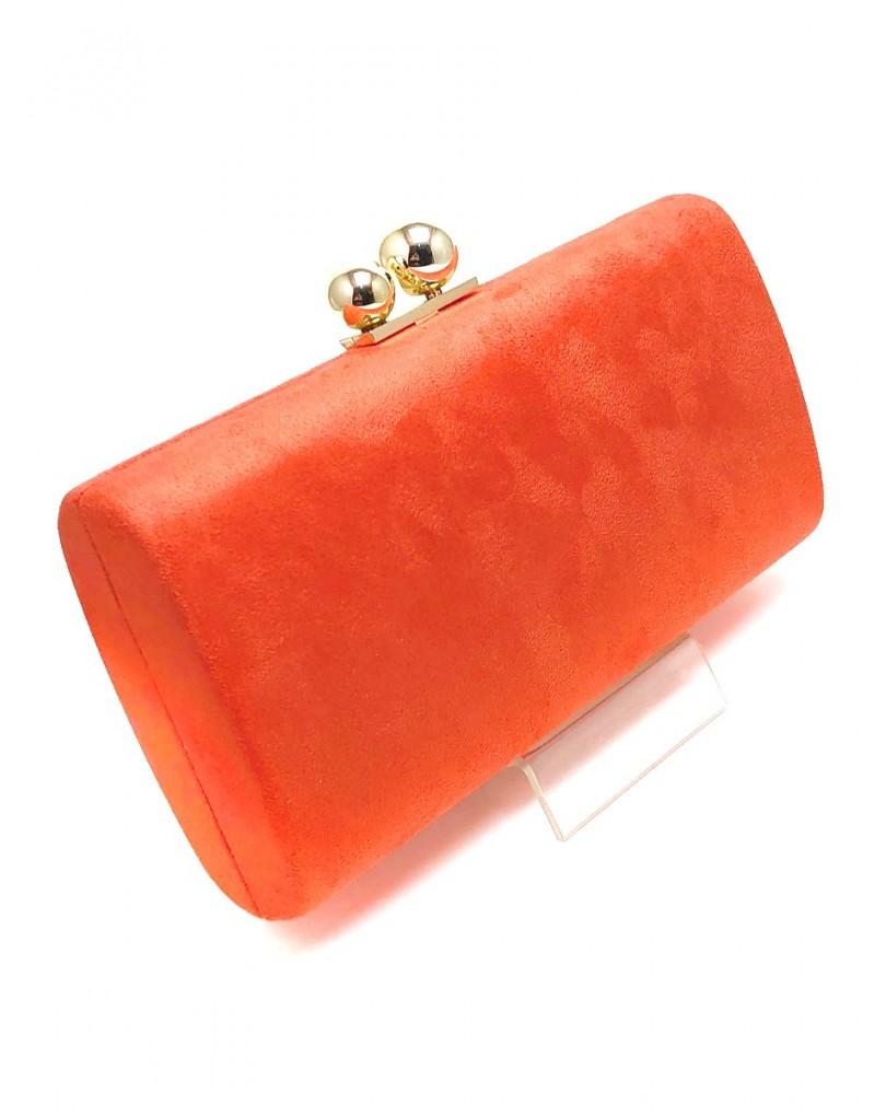 dc2e9027b Originales Bolsos de Fiesta Naranjas , con Cierre Doble Bola en Dorado