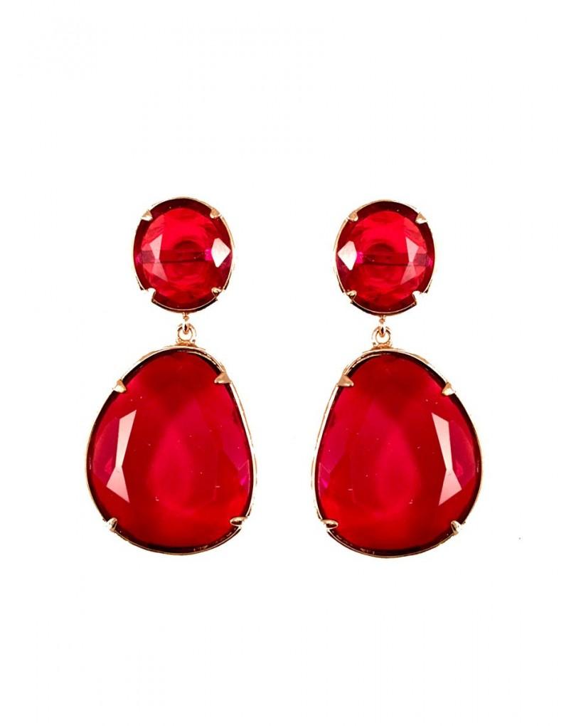 Pendientes largos de cristal en color rojo pendientes y bisuteria - El jardin del deseo pendientes ...