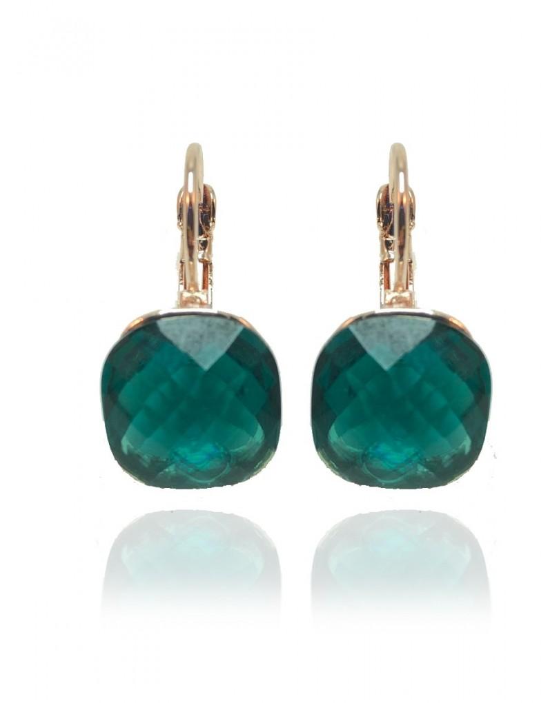48c6b85d9601 Pendientes de Bisuteria Dorada con Cristal Verde