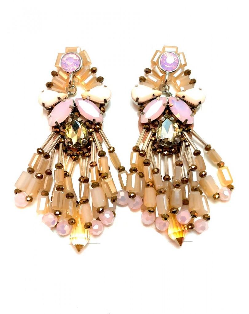 fa404f18a6ba Pendientes Largos Mujer de Fiesta Alta Bisuteria Es Cristales Tallados  Color Rosa Palo