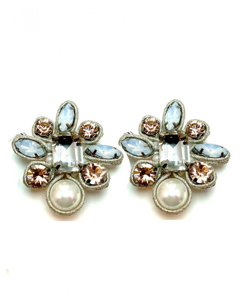 c3010799d3ec Pendientes Mujer de Clip Alta Bisuteria con Cristales de Colores ...