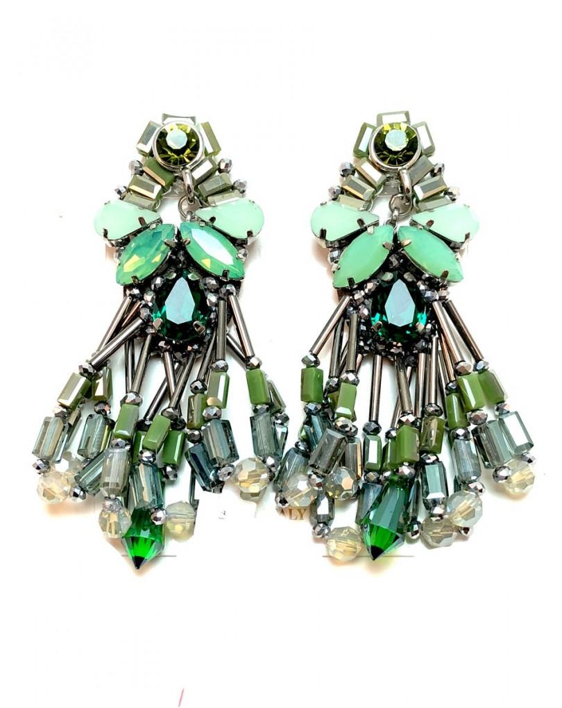 82c1ff1b2fd1 Pendientes Mujer de Fiesta Alta Bisuteria Es Cristales Tallados Color Verde.