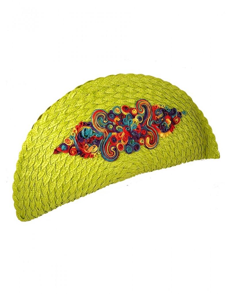 e1dc4140b Comprar Bolsos de Fiesta Verde Pistacho en Forma de Abanico y Adornos de  Pasamaneria Bordada. Color