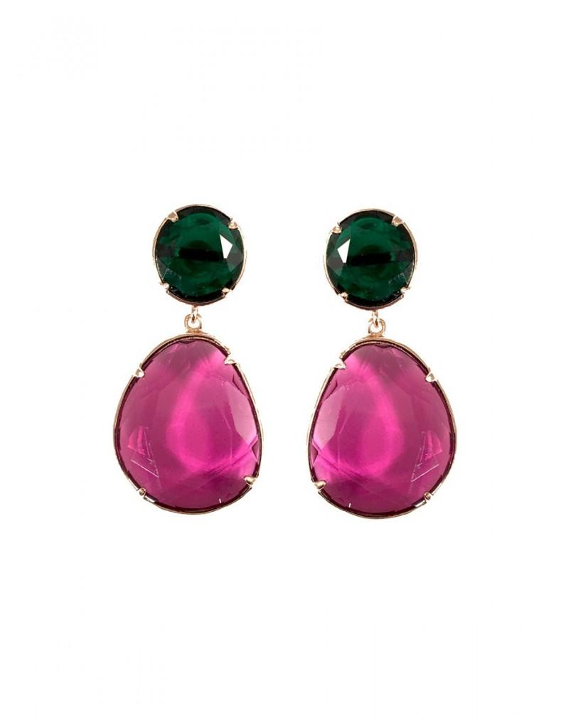 72b08295462f Elegantes Pendientes de Fiesta en Cristal Color Verde y Morado ...