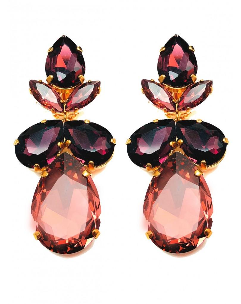 27025776a1ff Pendientes Grandes Granates Cristal Swarosvki para Fiesta Eventos y  Espectaculos