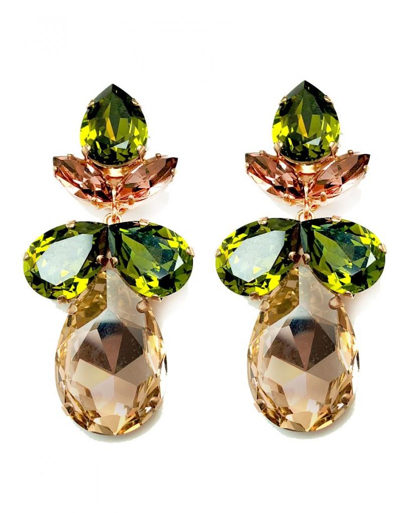 e5b3870f62b4 Pendientes Grandes Oro Rosa y Verde Cristal Swarosvki para Fiesta Eventos y  Espectaculos