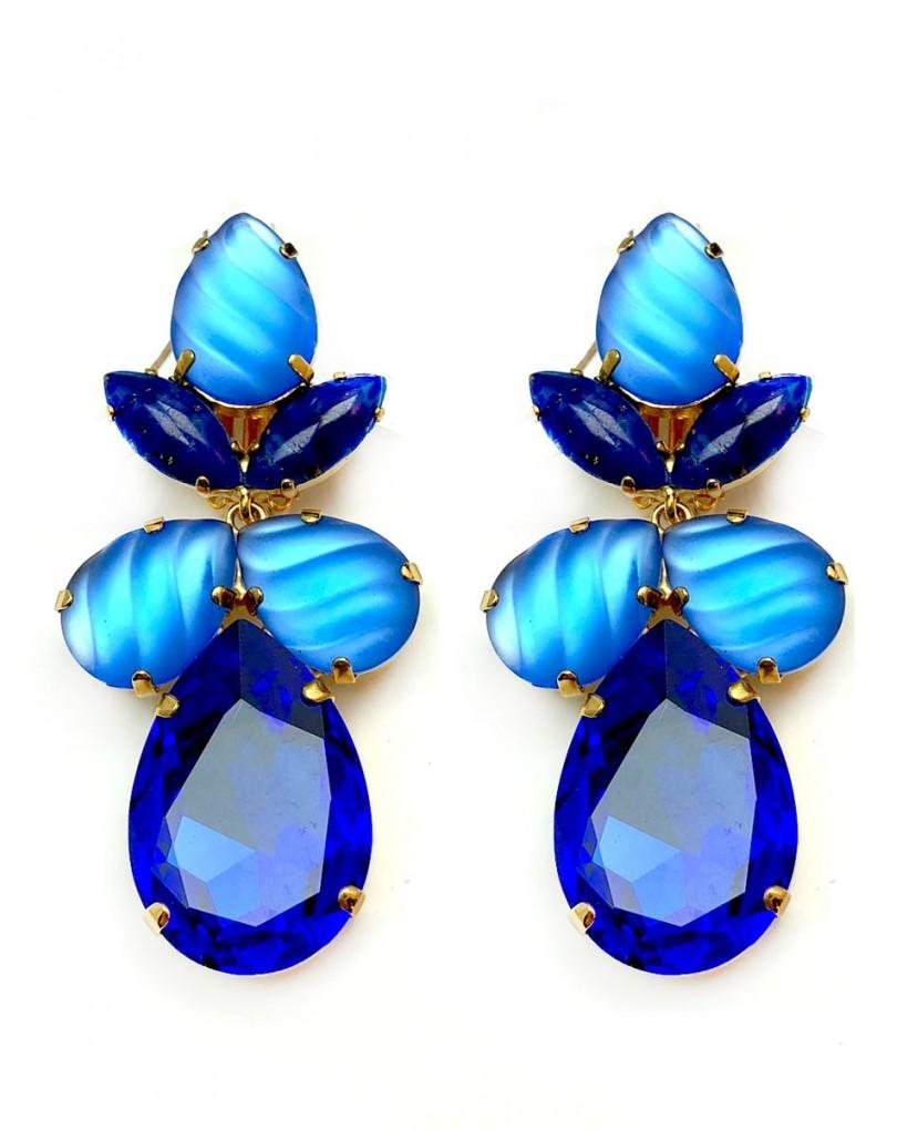 68cd84821108 Pendientes Grandes Azules Cristal Swarosvki para Fiesta Eventos y  Espectaculos