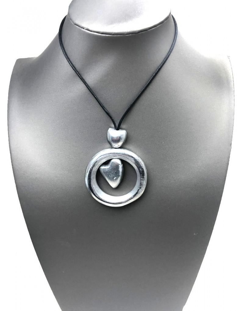 1ab2c6676cdb Collares Mujer Plata Cortos con Colgante de Circulo y Corazon