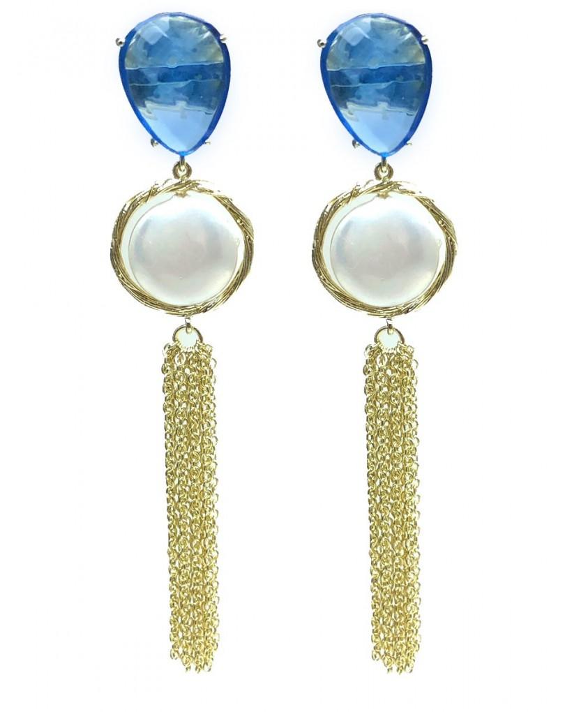 b6e9accd7849 Pendientes Mujer Baño Oro de Perla con Azul y Borla de Cadena ...