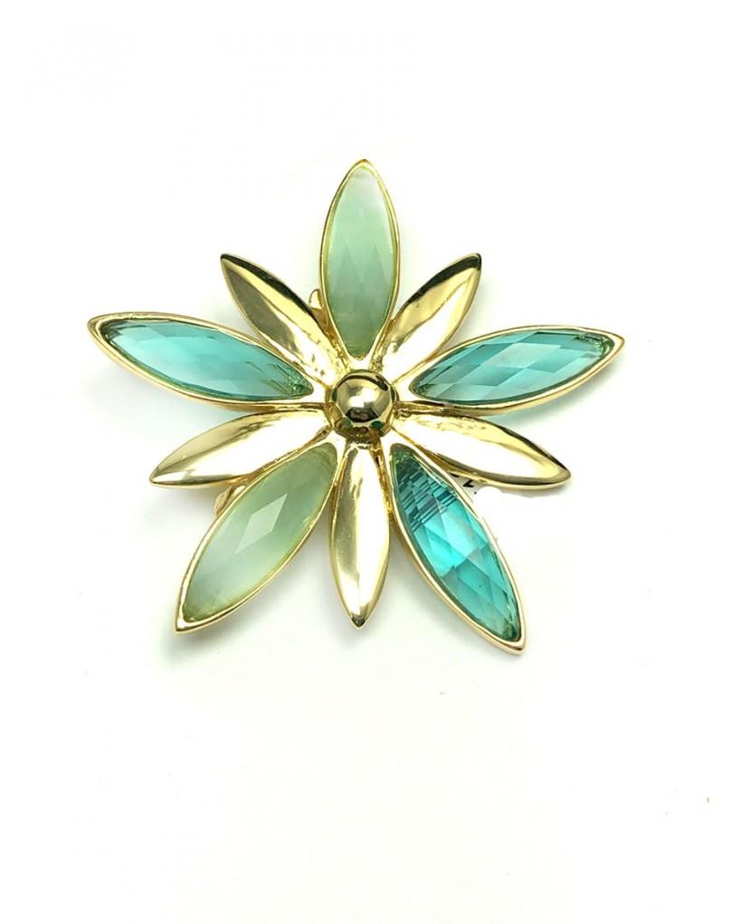 15e6a9d49be0 Broches Mujer Chapados en Oro con Flor Azulada