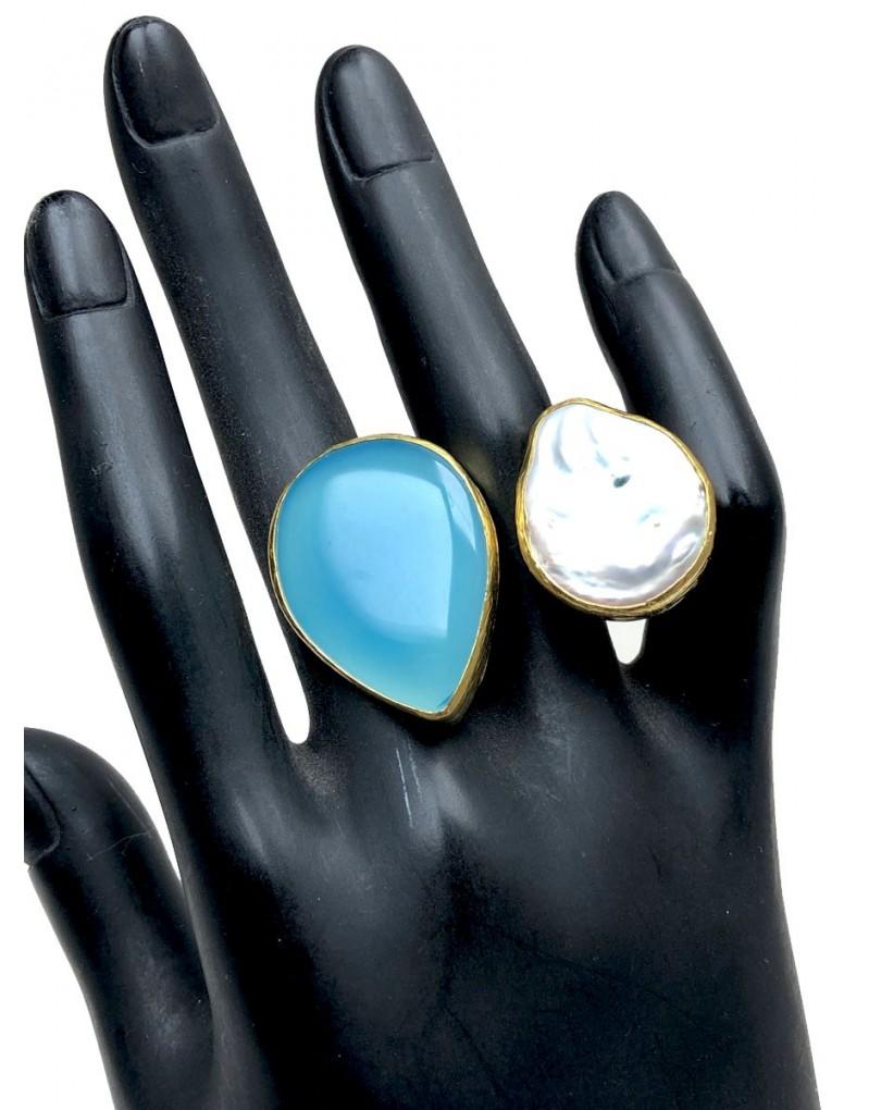 c75101588f10 Anillos Mujer Grandes Perla Barroca y Piedra Azul Natural