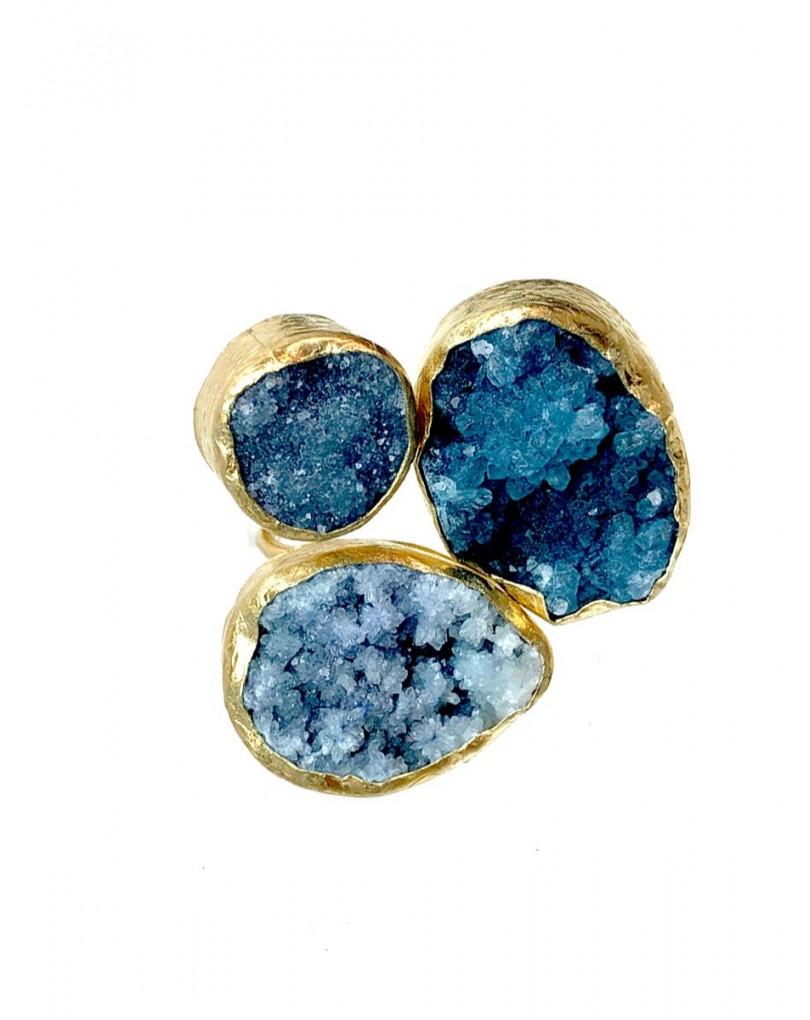 0c39121a1602 Anillo Azules Piedras Drusas