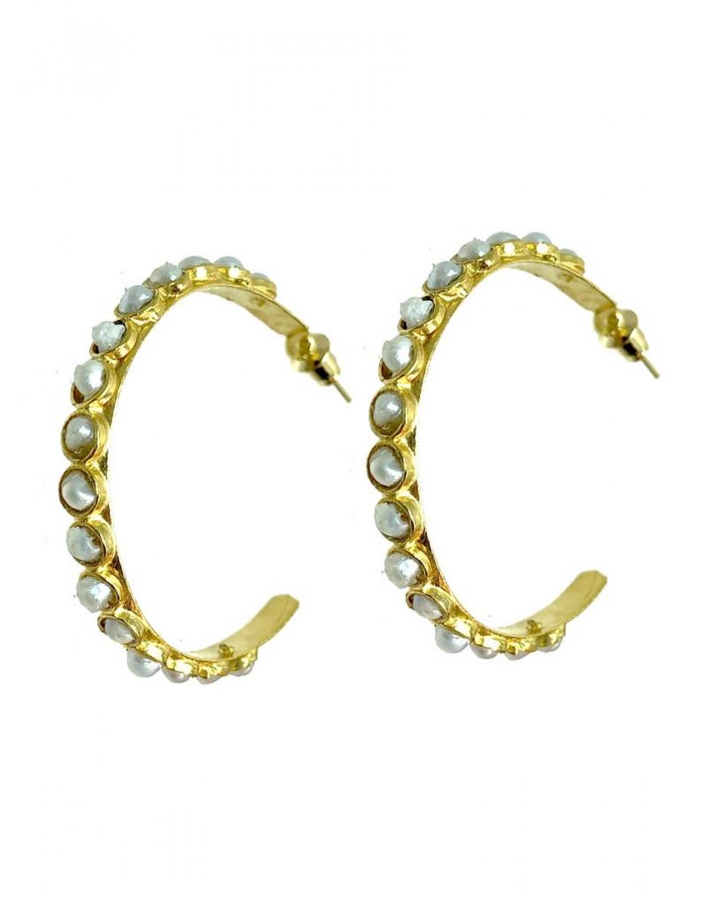 f0f89e743c5a Pendientes de Aro con Baño de Oro y Perlas