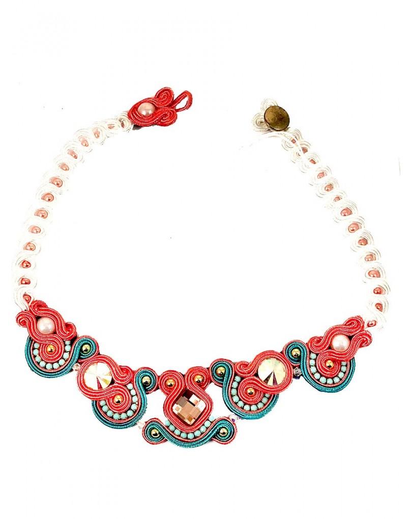 016de880d8d2 Collares Mujer Bisuteria Cortos Coral y Verde Ideales para Bodas ...