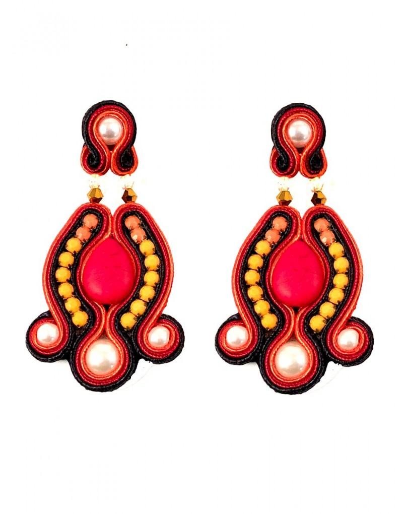 787546731c4c Pendientes de Flamenca Grandes Rojos y Naranjas con Pedreria Venta Online