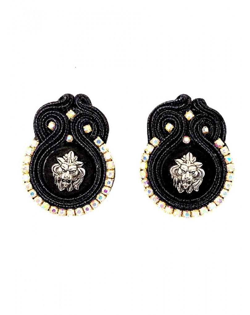 857f2fc68650 Pendientes Negros de Diseño con Pedreria Venta Online