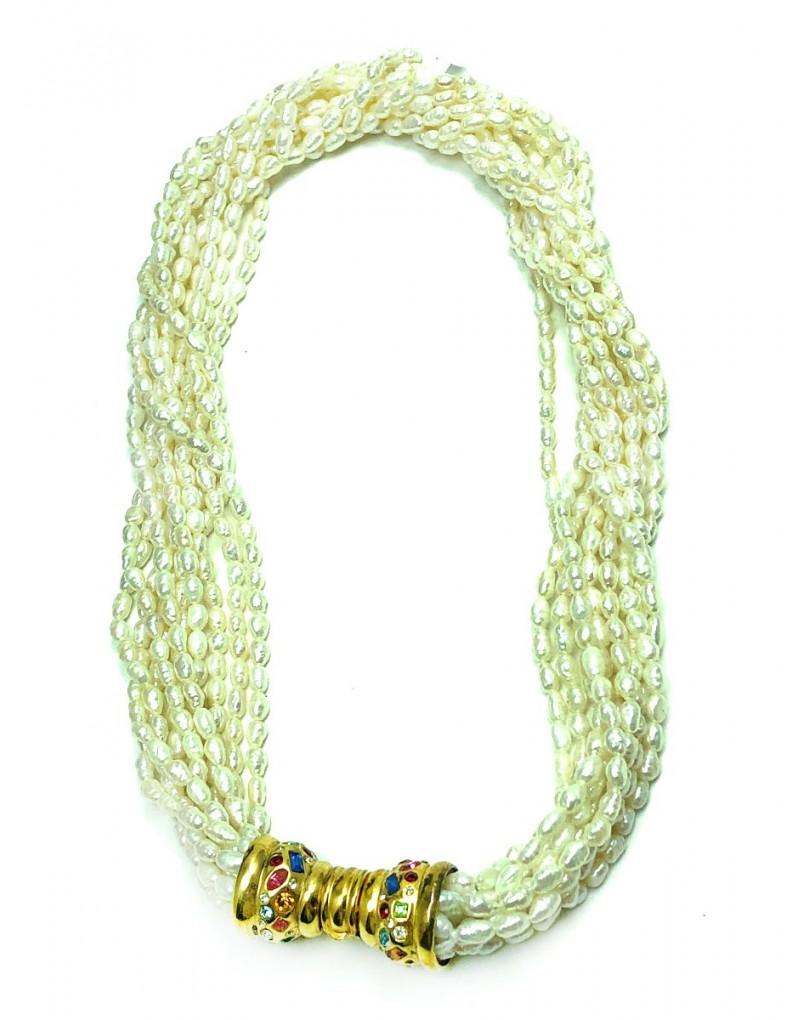 9b70e313a17f Originales Collares Cortos de Perlas Varias Vueltas y Fabuloso Cierre Joya