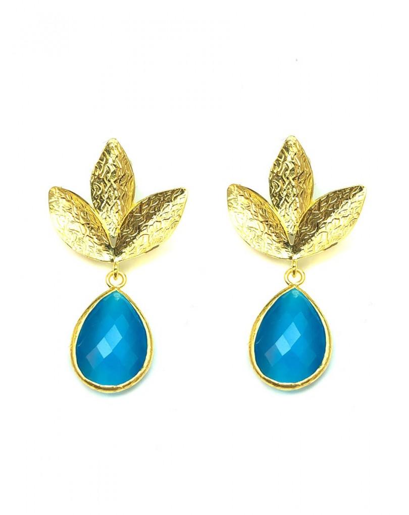 21c662fdb736 Pendientes Mujer Elegantes Azul Turquesa de Piedras Naturales ...