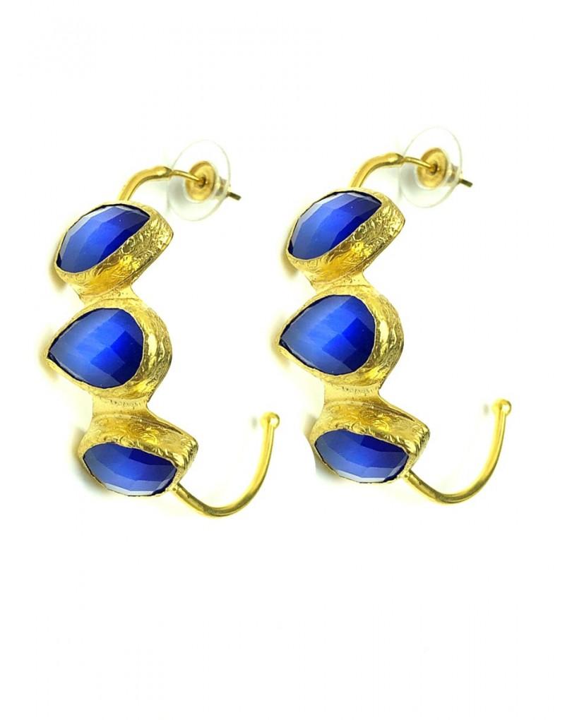 7d72ff1e6aaa Pendientes de Aro Dorados con Piedras Azulon Quedan Preciosos ...