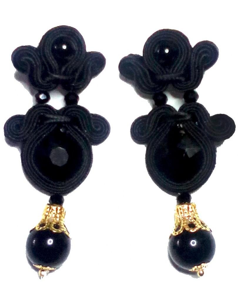 681e04f76846 Pendientes Flamenca de Diseño Color Negro Azabache