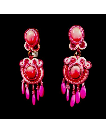 PENDIENTES FLAMENCA MEDIANOS COLOR FUCSIA